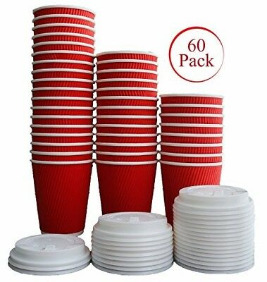 60 Pack -12 oz Disposable Hot Paper Coffee Cups With Lids with Ripple Wall