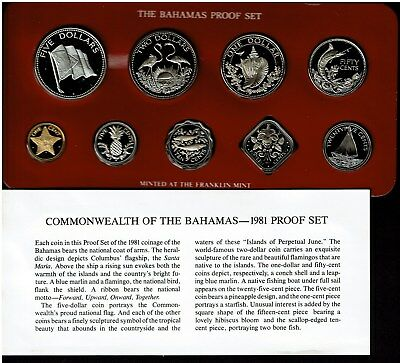 Bahamas 9-Coin Proof Set 1981 Gem Scarce In Case With Coa Nice