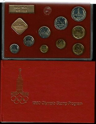 Russia Ussr 9-Coin Prooflike Mint Set 1976 Gem With 1980 Moscow Olympics Stamps