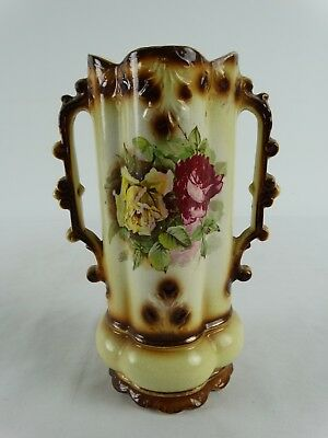 Antique 19th Century Press Molded English Flower Vase with Rose Motif England