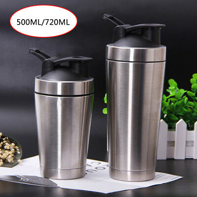 304 Stainless Steel Water Bottle Sport fitness Gym Protein Shaker Blender Cup UL
