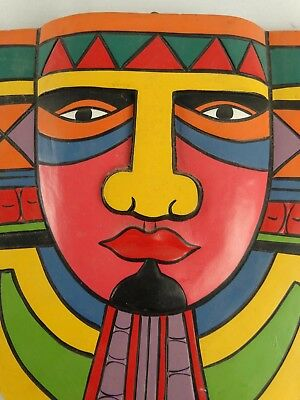 Vintage Isla Mujeres Mexico Carved Wood mask - Wall Plaque - Or Mayan?