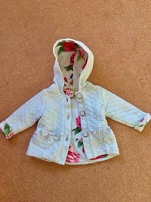 Ted Baker Baby Girls Jacket Cost Age 3-6 Months Blue Rose Lining Lovely On