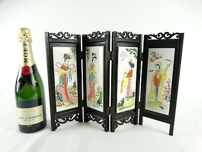 Vintage Chinese Scholars Screen with hand painted Tiles Republic of China c1970s