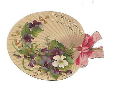 With Sincere Wishes for A Merry Christmas Tan Fan Ribbon Vict Card c1880s