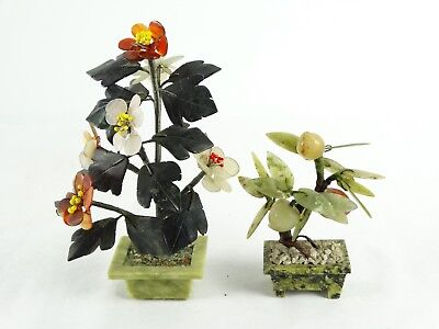 Pair of Vintage Chinese Semi precious Good Luck Feng Shui Stone Trees China