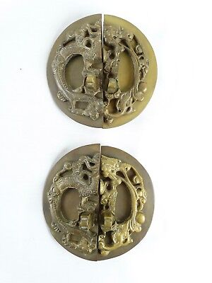 Pair Antique Chinese Brass Cabinet  Hardware Dragon Chasing Flaming Pearl
