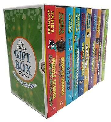 James Patterson Collection Middle School Series 10 Books Gift Wrapped Box Set