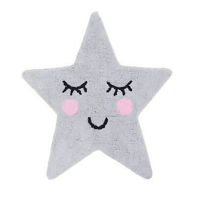 Sass & Belle Sweet Dreams Grey Star Floor Shaped Rug 100% Cotton Boys Girls