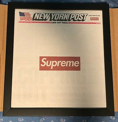 FRAMED(UV resistant acrylic front) Supreme New York Post Newspaper COLLECTABLE!!