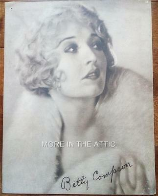 Precode Star Betty Compson Orig Vintage Oversized 11X14 Portrait Premium
