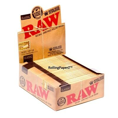 12 Packs RAW Classic King Size Supreme Cigarette Rolling Papers - 40 leaves each