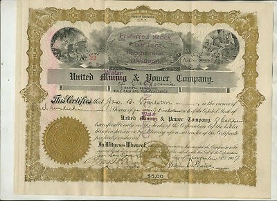 1907 UNITED WATER/MINING & POWER CO OF CALIFORNIA STOCK CERTIFICATE iSSUE #22