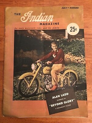 The Indian Magazine Motorcycle Alan Ladd In Beyond Glory July-August 1948