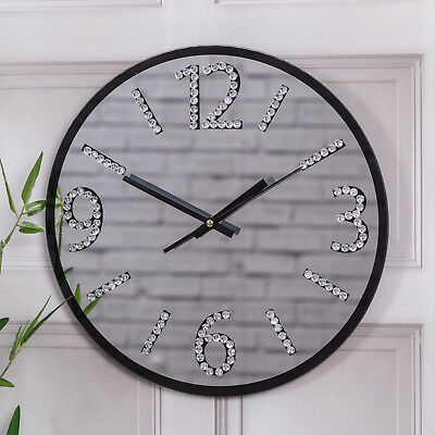 Black Mirrored Wall Clock Round Glass Diamante Modern Hallway Living Bedroom