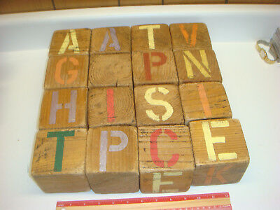 "Large Wooden Blocks 16 Vintage with stenciled letters 3"" square Handmade? RARE!!"