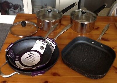 Tefal Emotion Stainless Steel Induction & EaziGlide2  Pan Set Six + Four  Lids