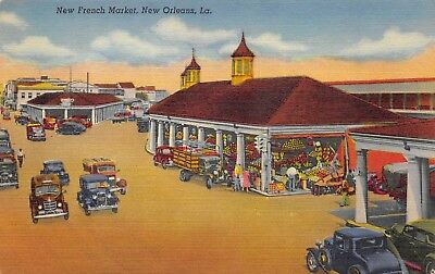 New Orleans Louisiana 1940s Linen Postcard New French Market