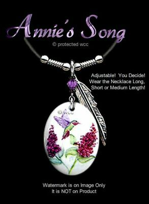"Annies Song Hummingbird Necklace - Lovely Humming Bird Art Pendant 24"" Leather *"