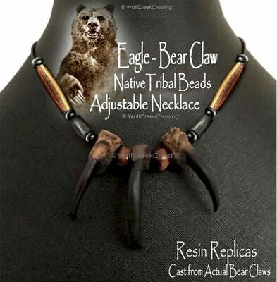 Free Ship Bear Grizzly Claw Necklace Mountain Man Rendezvous Grizzlies New!  E2'