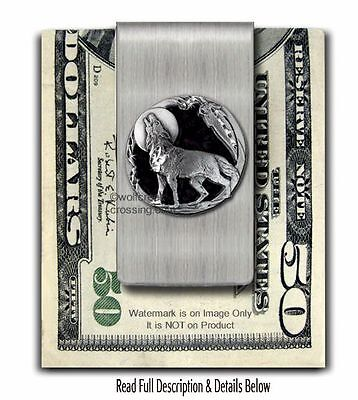LONE WOLF SPIRIT MOON STAINLESS STEEL MONEY CLIP WOLVES GIFT SALE  FREE SHIP Es'