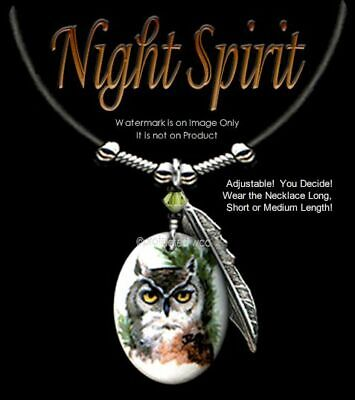 Night Spirit Owl Necklace - Wild Nature Art Jewelry Owls Gift - Free Ship  #lth'