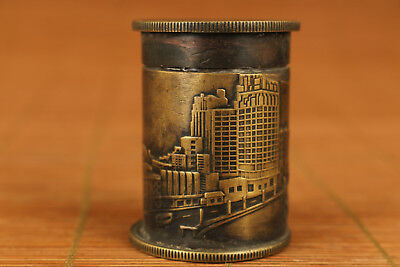 Rare Valuable chinese old Copper Hand Carved auditorium Coin Snuff Box collectab