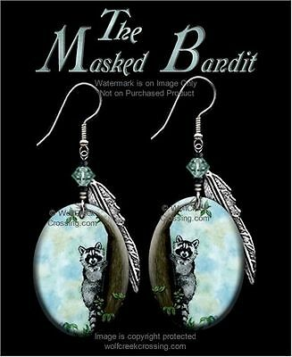 Masked Bandit Raccoon Earrings - Country Wildlife Art - Jewelry Free Ship  #blh'