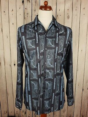 Vtg 1970s Slim Fit Patterned Open Collar Disco Shirt Made In California M/L GS11