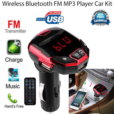 Bluetooth Car FM Transmitter Wireless Adapter USB Charger Mp3 Player Wireless