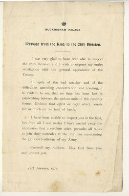 Message from the King to the 28th Division, 1915