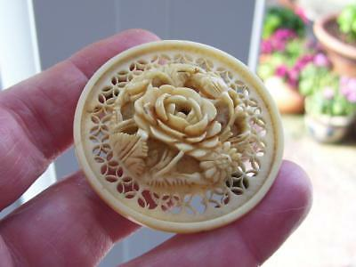 Large Antique Victorian Fine Carved Raised Floral Rose Centre Pin Brooch
