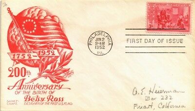 Dr Jim Stamps Us Betsy Ross Birthday Anniversary Cachet Craft Fdc Cover 1952