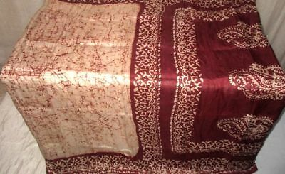 Cream Coffee Pure Silk 4 yd Vintage Antique Sari Saree Gift for Mother NR #98SDZ