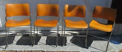 Set Of 4 - David Rowland 40/4 Vintage Stackable Office Chairs Molded Plywood