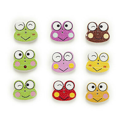 50pcs 2 Hole Mixed Frog Wood Buttons Decor Sewing Scrapbooking Clothing 21x18mm