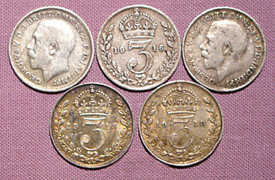 SILVER COINS FOR THE BRIDE - King George V Silver Threepence x 5