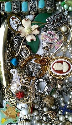Huge Vintage & Now Jewelry Lot Estate Find Junk Drawer UNSEARCHED UNTESTED#cameo