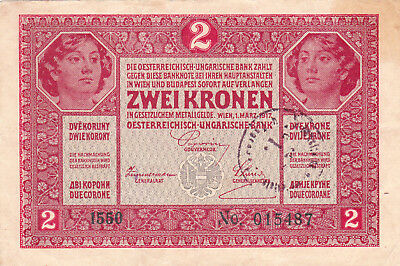 2 Korona/kronen Very Fine Note1919 With A  Stamp From Shs Kingdom,zagreb!