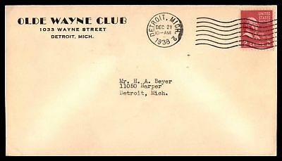 Olde Wayne Club Detroit Michigan Dec 21 1938 Ad Cover With Prexie