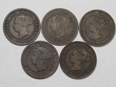 5 Different Date Victoria Canadian Large Cents: 1859, 1876-H, 1887, 1896 & 1899.