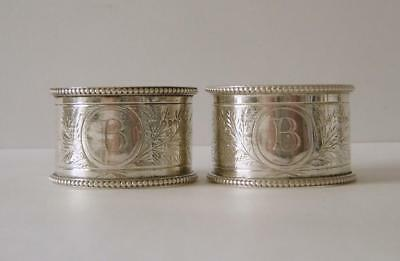 A Pair Of Victorian Sterling Silver Napkin Rings London 1874 Thomas Smily 55gms