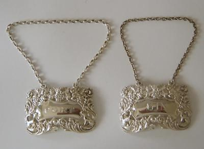 A Pair Of Ornate & Heavy Sterling Silver Port & Gin Decanter Labels London 1967