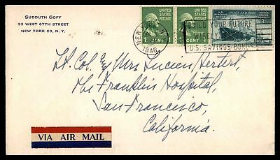 New York Ny Dec 3 1946 Air Mail Cover With Prexie Pair To San Francisco Calif