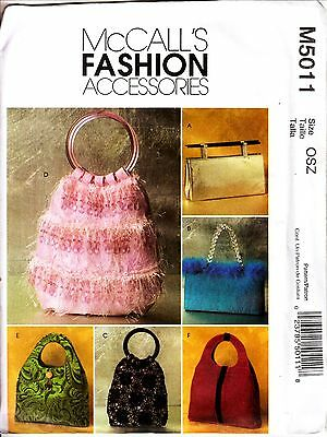 McCall 5011 Fashion Accessory 6 Lined HANDBAGS  Handle Variation Pattern Uncut