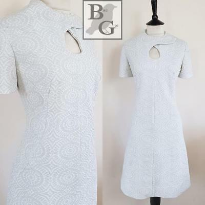 Mod Chic 1960S Vintage Spaceage Silver Brocade Mod Scooter Cocktail Dress 12-14
