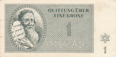 1 Krone Extra Fine German Concentration Camp Note From Theresienstadt 1943!