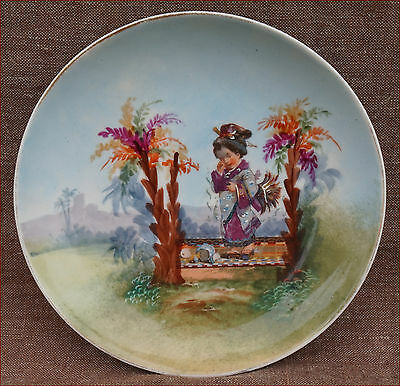 Antique Japonism Cabinet PLate Aesthetic Movement Enamel Porcelain 1880