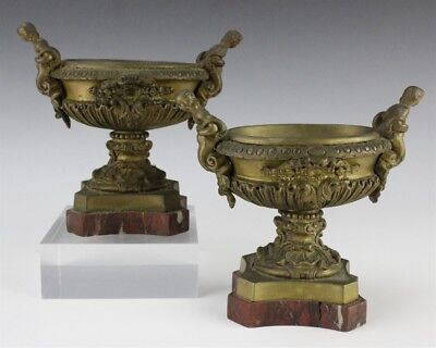 Pair of Antique Ornate French Style Mermaid Bronze Rouge Marble Bowl Vases SMS