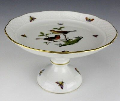 Vintage Signed HEREND Rothschild Bird Butterfly Porcelain Compote Stand NR JGP